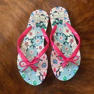 Kate Spade Pink Bow Flip Flops Floral Size 7-8